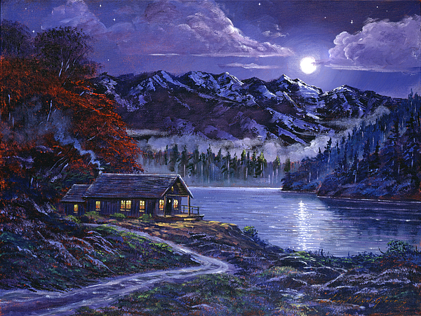 Moonlit cabin painting by david lloyd glover