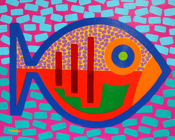 Fish. Psychedelic Painting - Psychedelic Fish by John  Nolan