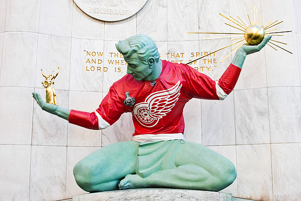 Michigan Photograph - Spirit Of Detroit In Red Wing Jersey by James Marvin Phelps