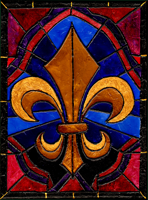 Stained Glass Fleur De Lis Painting