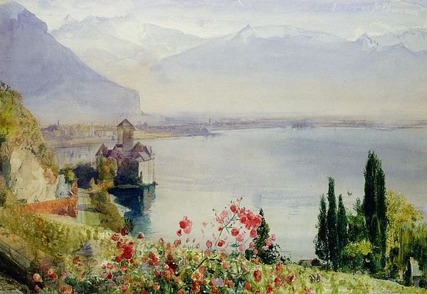 The Castle At Chillon Painting - The Castle At Chillon by John William Inchbold