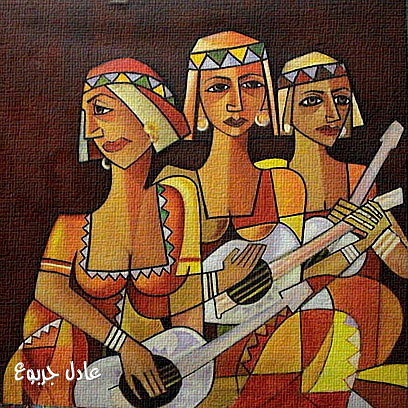 Cubism Painting - Three Instrumentalists  by Adel Jarbou