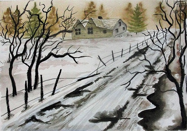 Building Painting - Winter Farmhouse by Jimmy Smith
