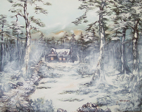 Winter house painting by miroslaw chelchowski - Exterior painting in cold weather ...