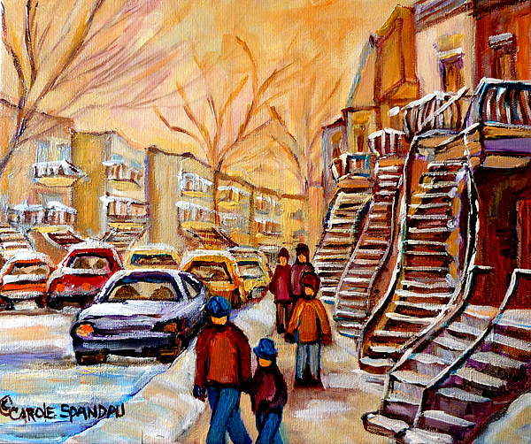 Montreal Painting - Winter Walk In Montreal by Carole Spandau