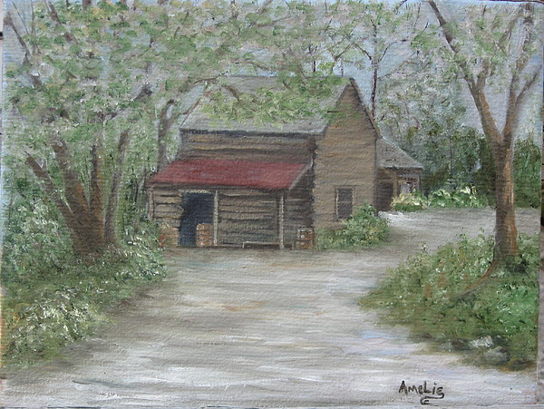 1800 Log Cabin Painting By Amelie Gates