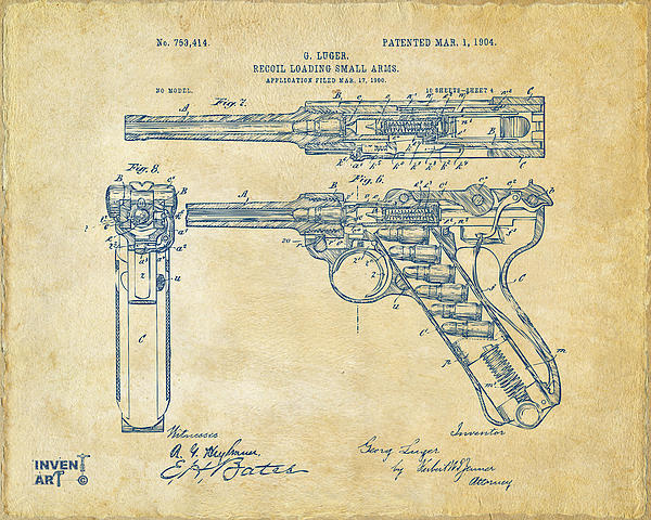 Luger Drawing - 1904 Luger Recoil Loading Small Arms Patent - Vintage by Nikki Marie Smith
