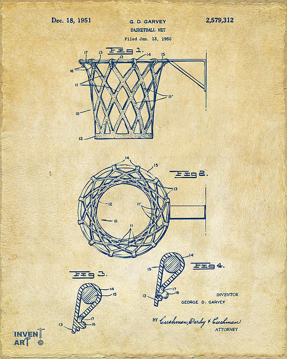 Basketball Drawing - 1951 Basketball Net Patent Artwork - Vintage by Nikki Marie Smith