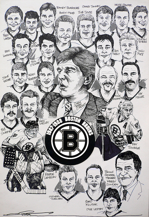 Championship Poster Drawing - 1988 Boston Bruins Newspaper Poster by Dave Olsen