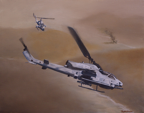 Ah-1w Painting - Close Air Support by Stephen Roberson
