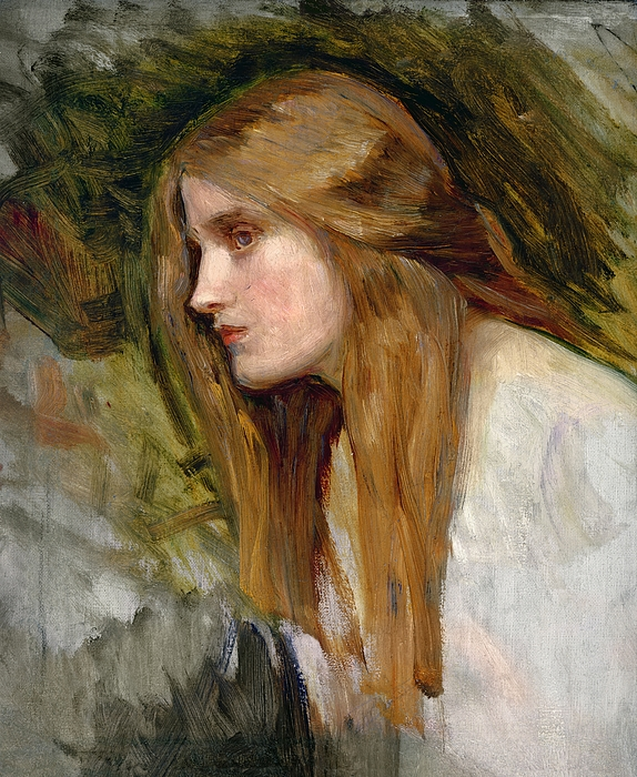 Head Painting - Head Of A Girl by John William Waterhouse