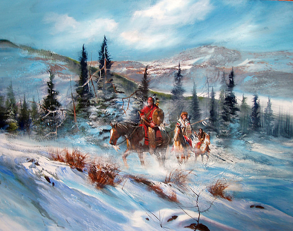Western On Canvas Painting - Over The Top by Robert Carver