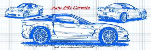 2009 Zr1 Corvette Drawing - 2009 C6 Zr1 Corvette Blueprint by K Scott Teeters