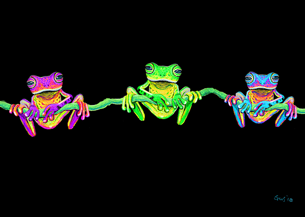 3 Little Frogs Painting