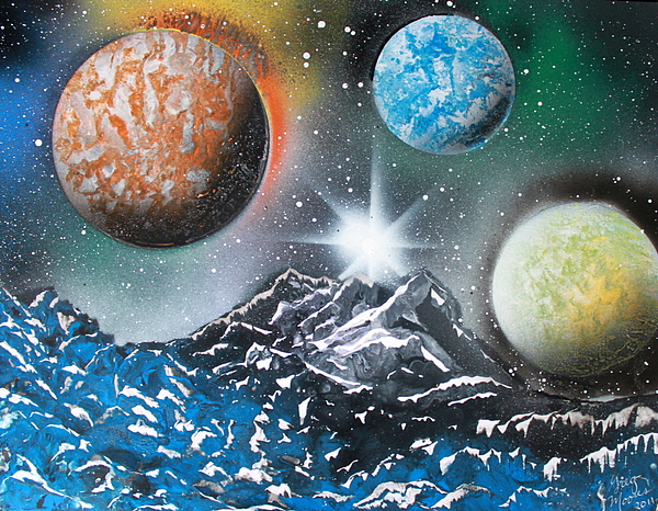Space Art Painting - 3 Planets 4687 by Greg Moores