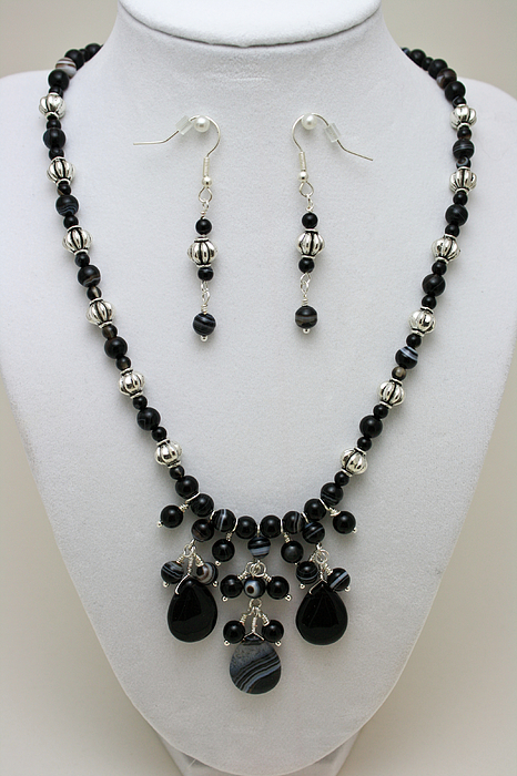 Original Jewelry - 3601 Black Banded Onyx Necklace And Earrings by Teresa Mucha