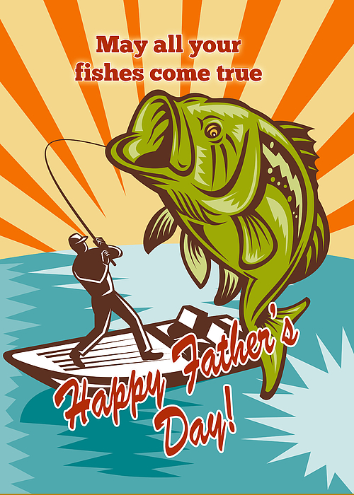 Fathers Day Card Featuring Fly Fisherman On Boat Catching Largemouth Bass Retro Style Illustration Digital Art - Fly Fisherman On Boat Catching Largemouth Bass by Aloysius Patrimonio