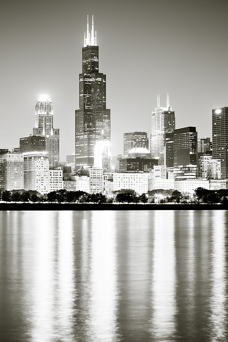 Chicago Skyline At Night Photograph