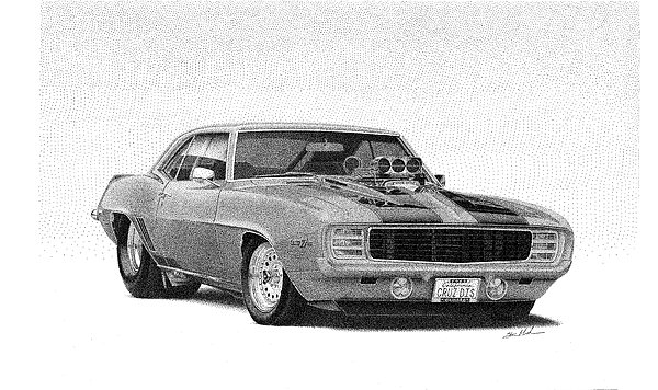 69 Camaro Drawing By Steve Mashburn