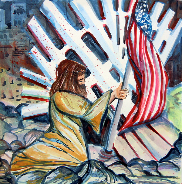 911 Painting - 911 Cries For Jesus by Mindy Newman