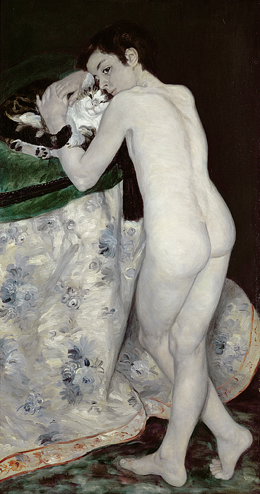 Le Garcon Au Chat; Male; Nude; Rear View; Young; Impressionist Painting - A Boy With A Cat by Pierre Auguste Renoir
