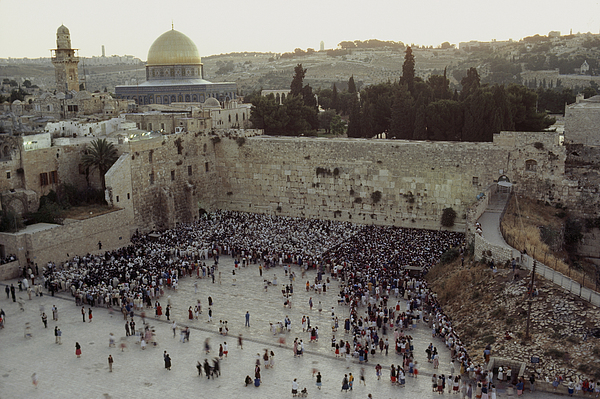 Israel Photograph - A Crowd Gathers Before The Wailing Wall by James L. Stanfield