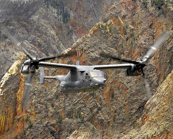 Cv-22 Photograph - A Cv-22 Osprey Flies Over The Canyons by Stocktrek Images