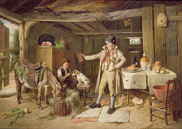 Vanity; Mirror; Walking Stick; Button Hole; Pigs; Pony; Interior; Cottage; Dog; Boy; Bacon; Ham; Pok; Turnip; Hay; Clock; Rustic; Pipe; Indoor; Donkey Painting - A Fine Attire by Charles Hunt