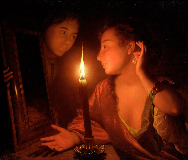 Lady Painting - A Lady Admiring An Earring By Candlelight by Godfried Schalcken