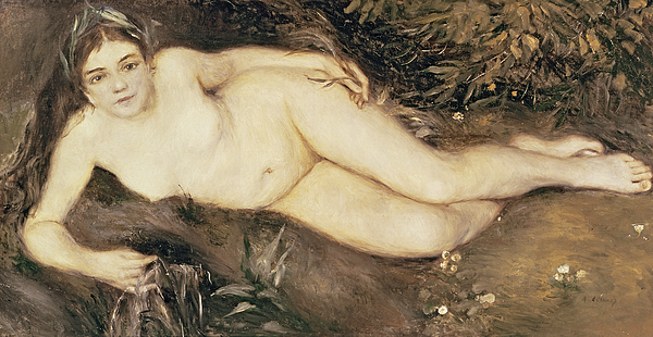 A Nymph By A Stream Painting - A Nymph By A Stream by Pierre Auguste Renoir