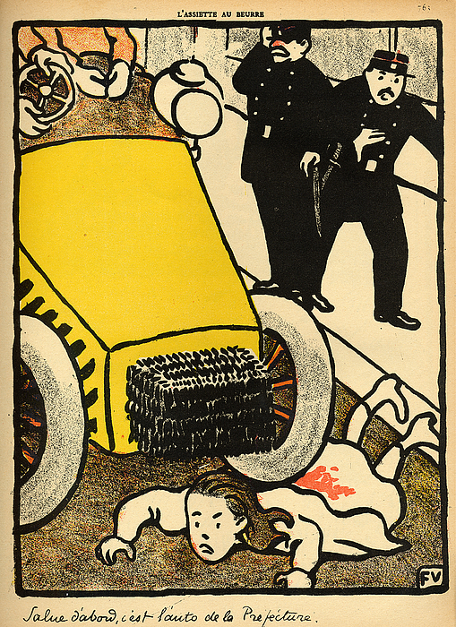 Injustice; Cruelty; Brutality; Abuse; Policeman; Policemen; French; Illustration; Female; Outrage; Authority Painting - A Police Car Runs Over A Little Girl by Felix Edouard Vallotton