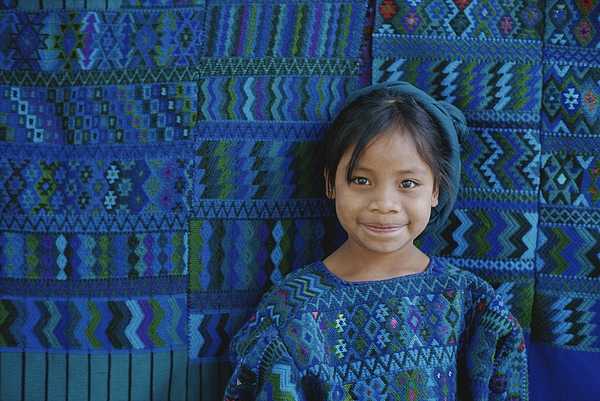 Fabric Photograph - A Portrait Of A Guatemalan Girl by Raul Touzon