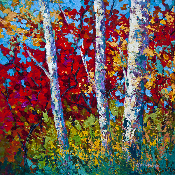 Birch Painting - A Quiet Pause by Marion Rose