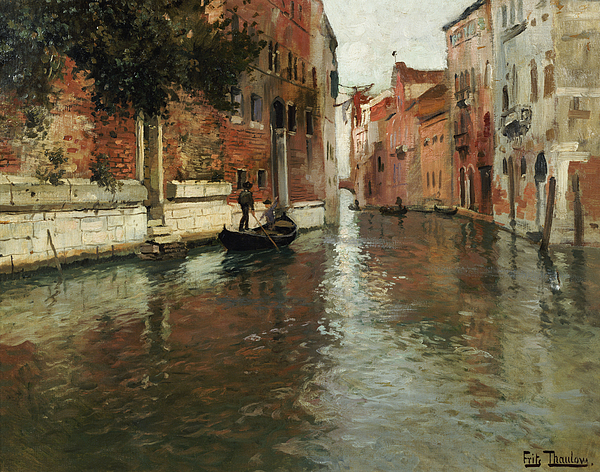 Venice Painting - A Venetian Backwater  by Fritz Thaulow