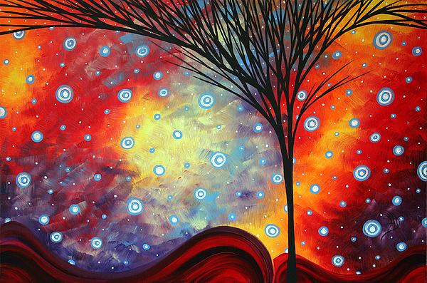Abstract Painting - Abstract Art Whimsical Landscape Painting Morning Bliss By Madart by Megan Duncanson