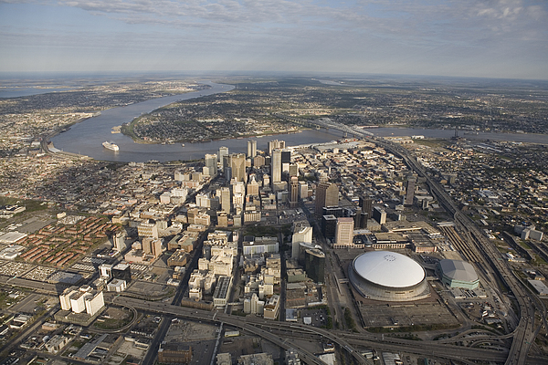 Day Photograph - Aerial Of New Orleans Looking East by Tyrone Turner