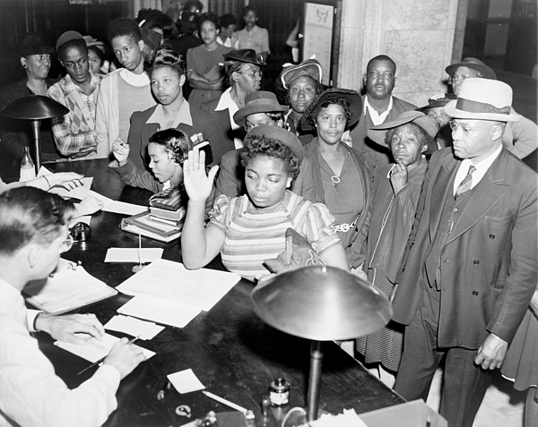 History Photograph - African Americans Lined Up To Register by Everett