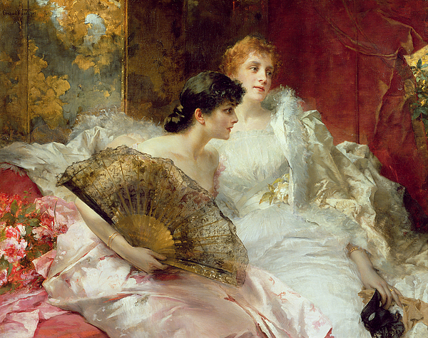 Female; Two Women; Seated; Ballgown; Fan; Mask; Interior; Resting; Society; Evening Dress Painting - After The Ball by Conrad Kiesel