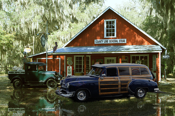 51 Chevy Sedan Delivery At Country Store  Digital Art - Air Brushed Woody At Country Store by John Breen