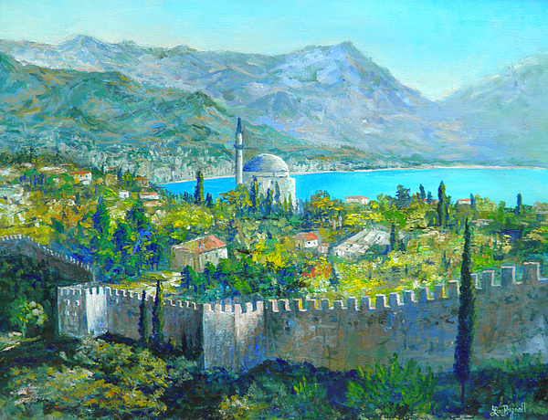 Castle And Mountains Painting - Alanya Turkey by Lou Ann Bagnall