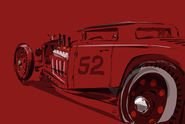 Hot Rod Drawing - Alchemy Red by Jeremy Lacy