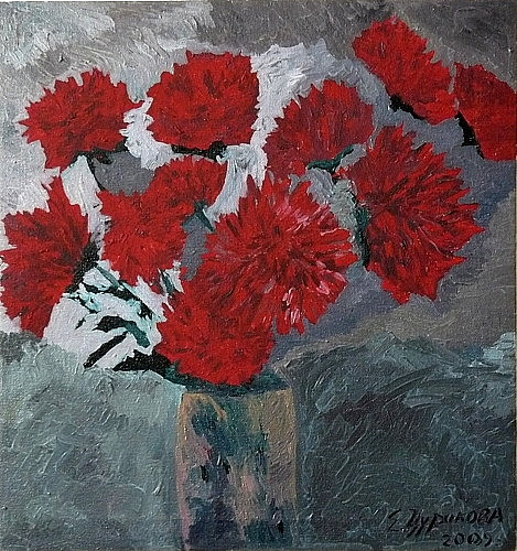 Ket Gun Painting - Altay Flowers.asters by Ket Gun