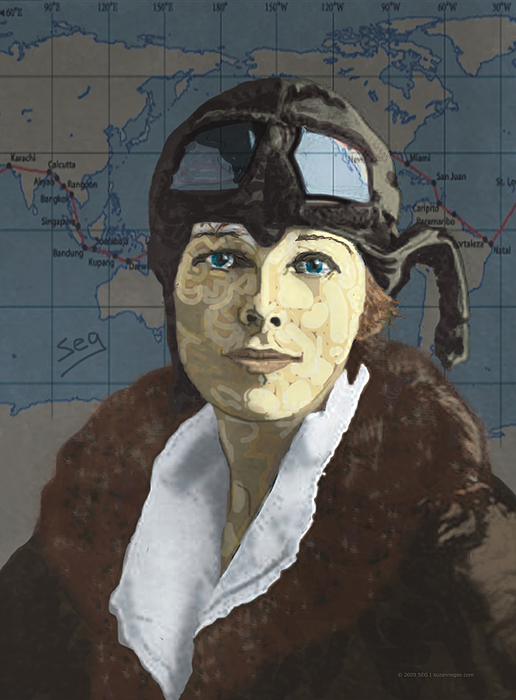 Amelia Earhart Painting - Amelia Earhart by Suzanne Gee