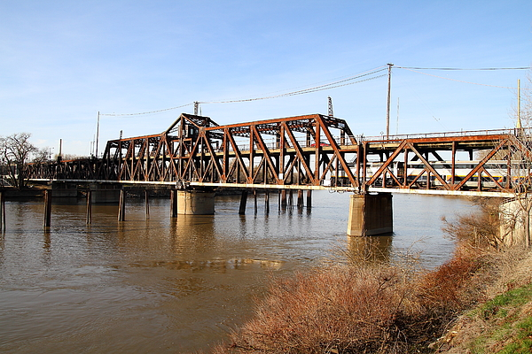 Amtrak California Crossing The Old Sacramento Southern Pacific Train Bridge . 7d11674 Photograph