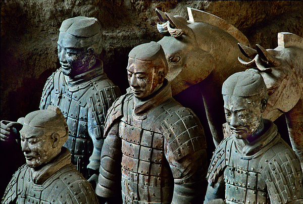 People's Republic Of China Photograph - Ancient Terracotta Soldiers Lead Horses by O. Louis Mazzatenta