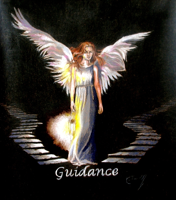 Angel Of Guidance Drawing - Angel Of Guidance by Concept by Rev Kathleen L Dixon Artist Greg Crumbly