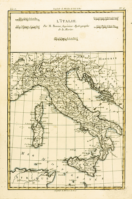 Maps Drawing - Antique Map Of Italy by Guillaume Raynal