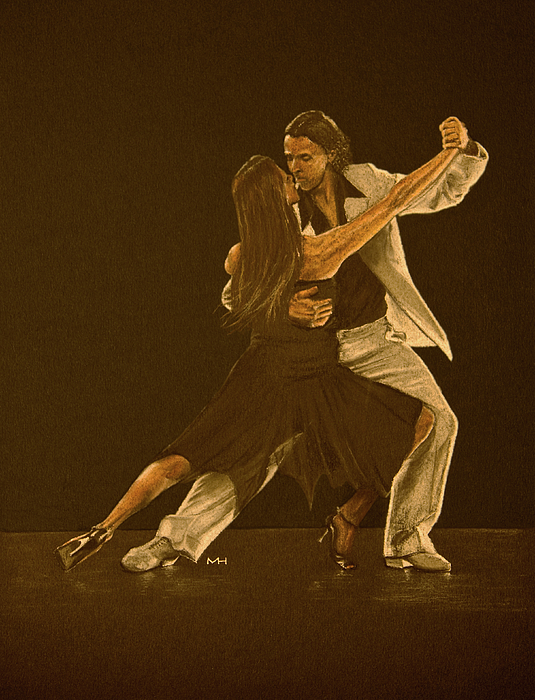 Argentine Drawing - Argentine Tango Dancers by Martin Howard