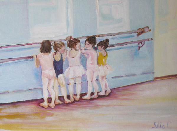 Girls Painting - At The Barre by Julie Todd-Cundiff