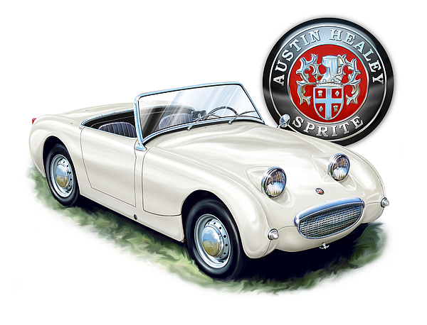 austin Healey Austin Digital Art - Austin Healey Bug Eye White by David Kyte